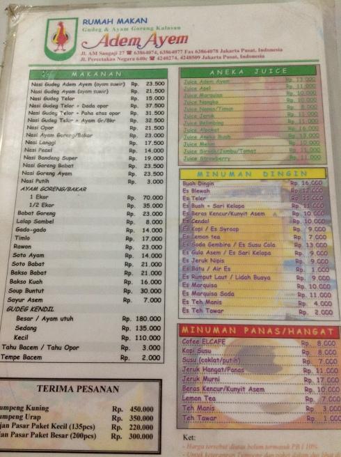 menu adem ayem